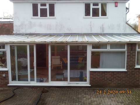 old conservatory roof and double glazing